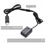 NP-FW50 Dummy Battery w/DC Power Bank (5V 2A) USB Adapter for AC-PW20 Sony NEX-3