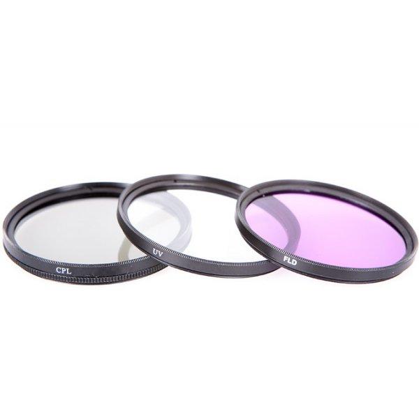 Professional 55mm 3pc Filter Kit FD CPL UV FLD