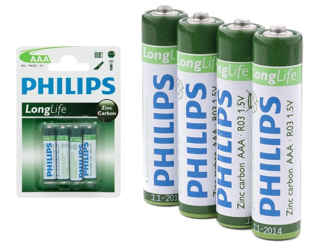 philips r03 aaa 1 5v zinc carbon batteries 4 pack. Black Bedroom Furniture Sets. Home Design Ideas