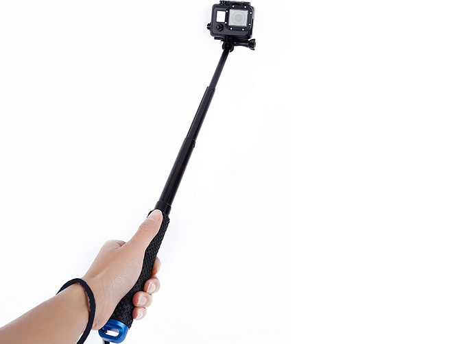4 way adjustable selfie stick grip handle blue. Black Bedroom Furniture Sets. Home Design Ideas