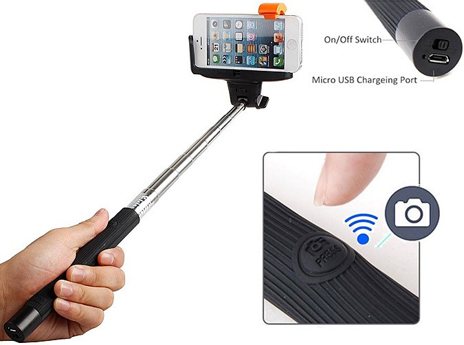 wireless monopod selfie stick bluetooth remote. Black Bedroom Furniture Sets. Home Design Ideas
